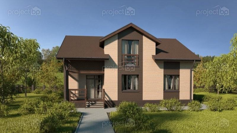 Проект широкого дома с мансардой и мезонином A-150