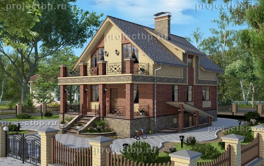 Проект дома с мансардой, подвалом и балконом B-178